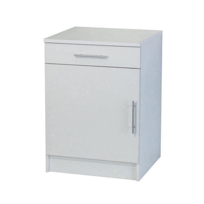 Trendy 7 meuble bas 1 porte 1 tiroir 60 cm blanc achat for Porte de 60 cm