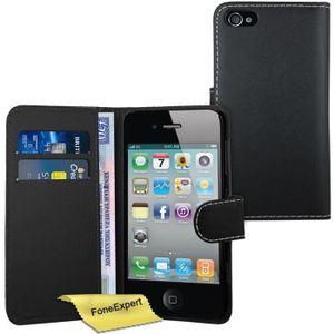 HOUSSE - CHAUSSETTE Noir - Apple iPhone 4 4s Etui Housse Coque en Cuir