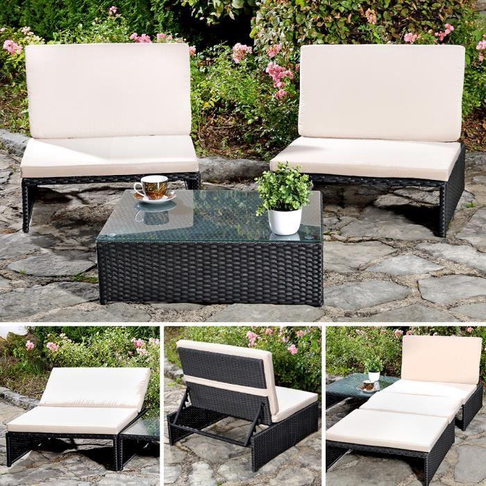 Salon Ensemble Table Chaise De Jardin Poly Rotin Achat
