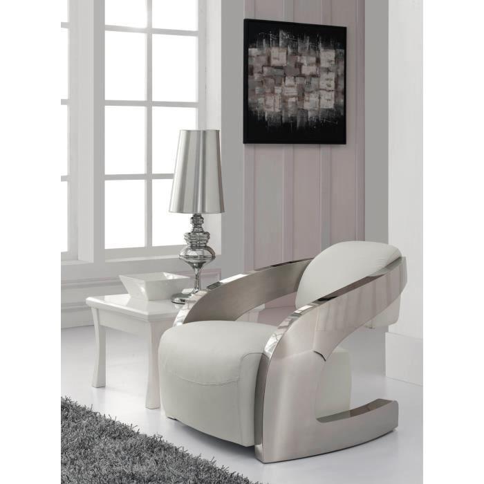 fauteuil design achat vente fauteuil blanc cdiscount. Black Bedroom Furniture Sets. Home Design Ideas