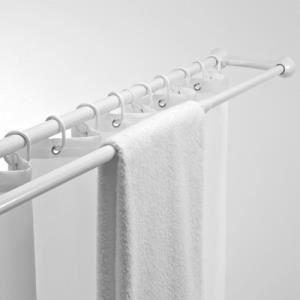 Msv barre de douche double blanche 125 225cm achat vente colonne de douch - Colonne de douche blanche ...