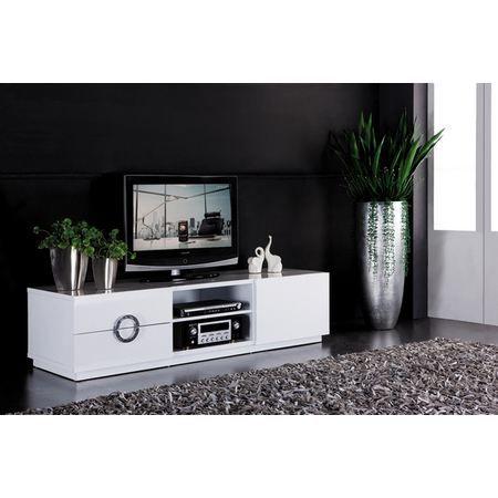 Meuble salon s jour tv hi fi banc blanc brillan achat for Meuble suspendu sejour