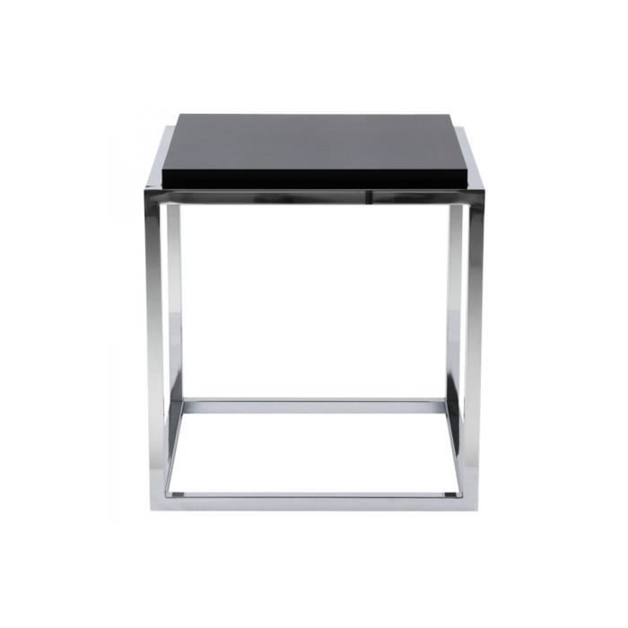 table d 39 appoint cube bois et m tal noir dezy achat vente table d 39 appoint table d 39 appoint. Black Bedroom Furniture Sets. Home Design Ideas