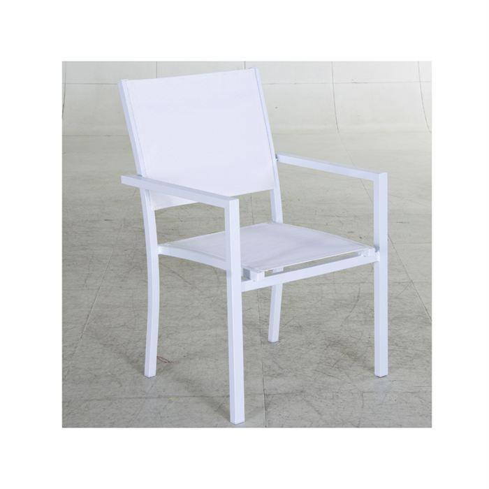 Fauteuil de jardin aluminium montezalo blanc achat vente chaise fauteuil jardin fauteuil - Chaise de jardin jardin ...