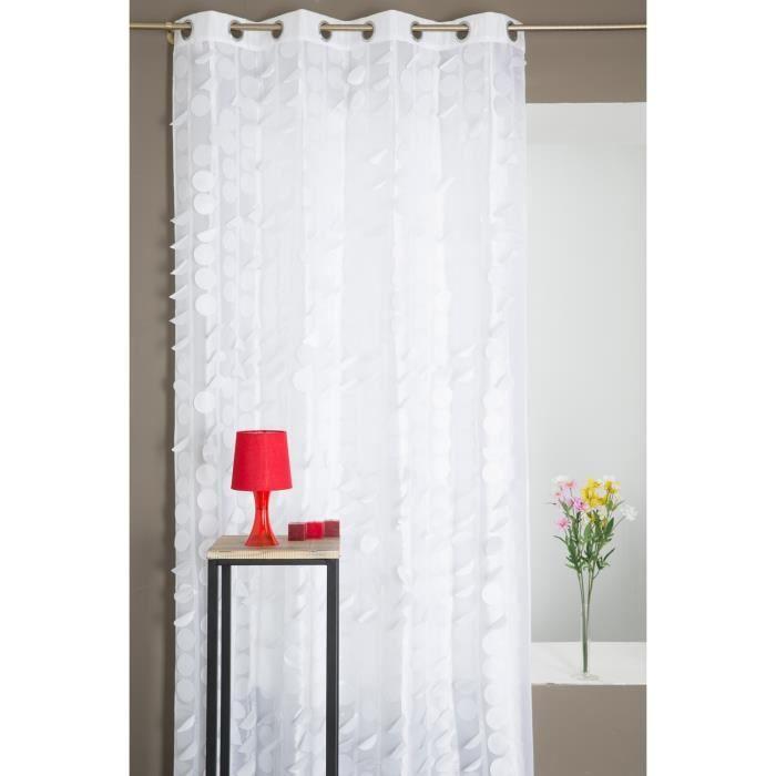 rideau pastilles contemporain blanc 140 x 240 cm achat vente rideau cdiscount. Black Bedroom Furniture Sets. Home Design Ideas