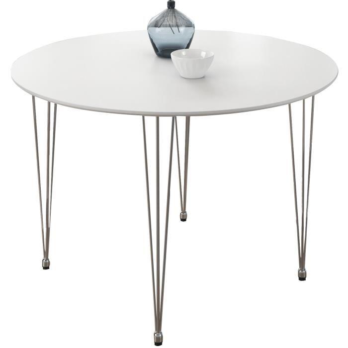 Table design ronde 80 cm modele luna coloris blanc mat for Table ronde 80 cm