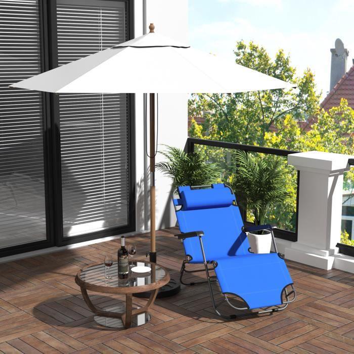 Bain de soleil chaise longue transat de jardin inclinable for Chaise longue transat jardin