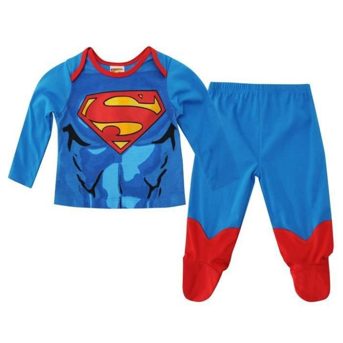 pyjama b b superman de 0 24 mois bleu achat vente. Black Bedroom Furniture Sets. Home Design Ideas