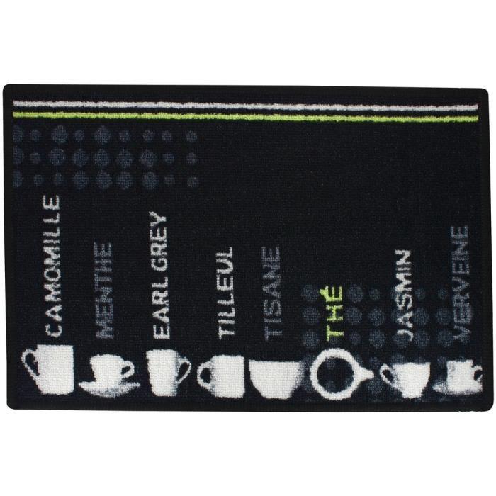 Tapis de cuisine decor th tag tea time noir achat for Tapis de cuisine rouge et noir