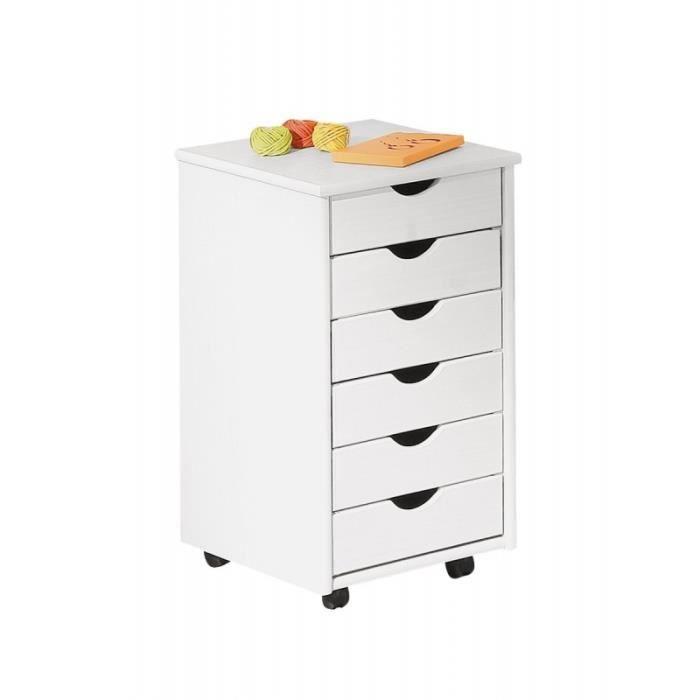 caisson sur roulettes blanc simon meuble 6 tiroirs pour bureau achat vente petit. Black Bedroom Furniture Sets. Home Design Ideas