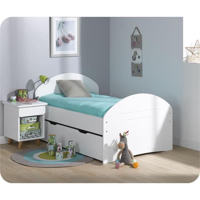 Pack lit enfant evolutif spoom blanc avec tiroir de lit et matelas achat - Lit enfant avec lit tiroir ...