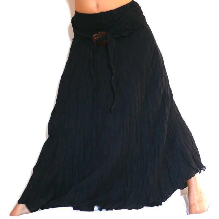 jupe longue noire noir ethnique femme taille un noir achat vente jupe 2009981379882 cdiscount. Black Bedroom Furniture Sets. Home Design Ideas
