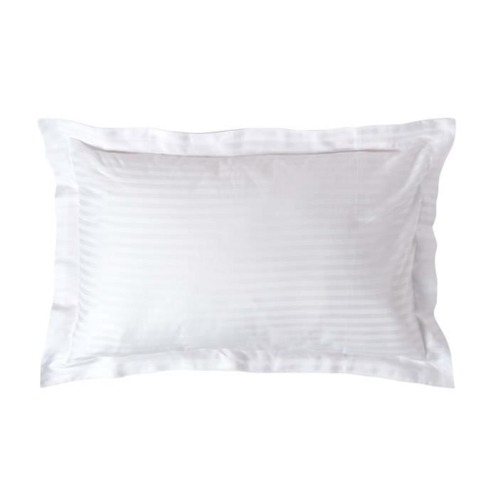 taie d 39 oreiller en satin de coton gyptien blanc 330 fils achat vente taie d 39 oreiller. Black Bedroom Furniture Sets. Home Design Ideas