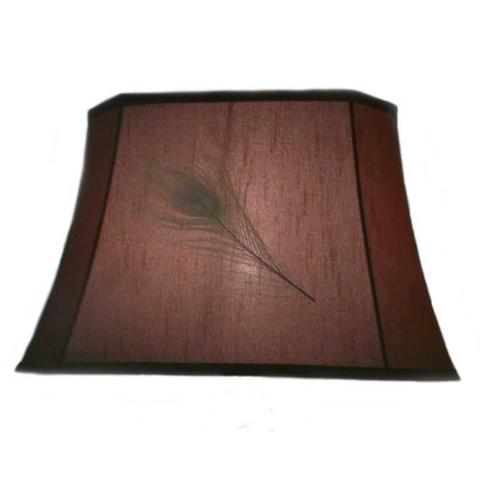 abat jour brun plume avec ocelle de paon brun rect achat. Black Bedroom Furniture Sets. Home Design Ideas