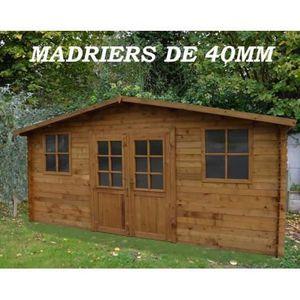 Abri de jardin 19 8m en bois 40mm autoclave teint marron gardy shelter achat vente abri for Abri de jardin en bois la redoute