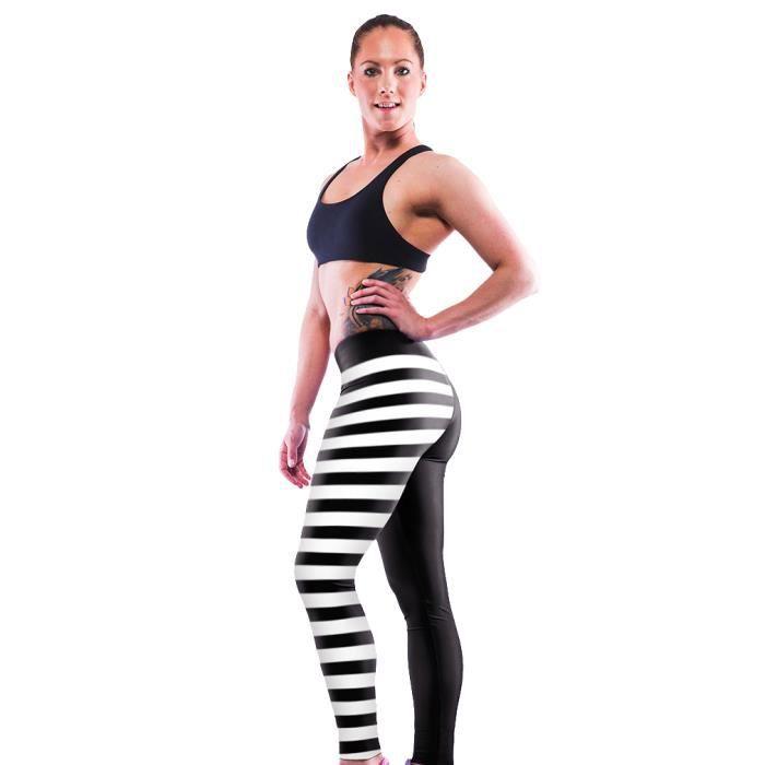 Pantalon de yoga femme elastique legging de sport imprim cr ne rayure de fit - Le polyester est il elastique ...
