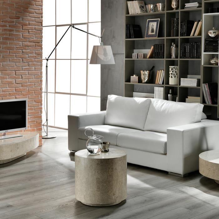 table de chevet ronde en pierre fossile round 2 par stones. Black Bedroom Furniture Sets. Home Design Ideas