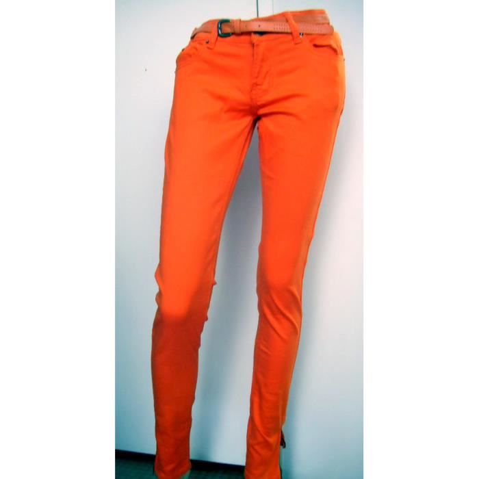 pantalon jean slim femme orange taille basse 42 orange achat vente jeans 2009986153883