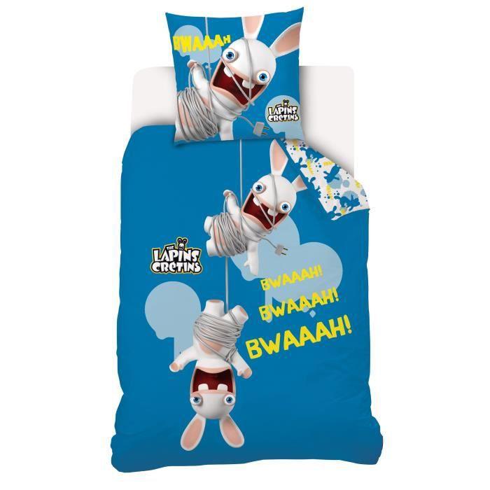 Parure de couette lapins cr tins 100 coton 1 housse de - Housse de couette lapin ...