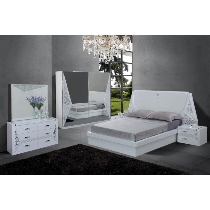 Ensemble chambre compl te design coloris blanc avec led for Chambre complete design