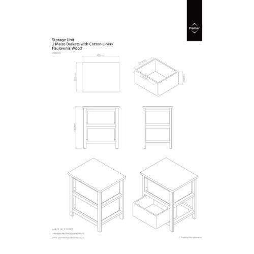 Premier housewares meuble de rangement avec 2 paniers en - Meuble de rangement avec panier en osier ...