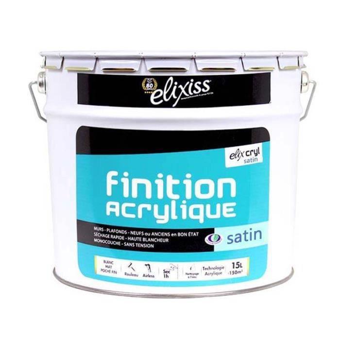 Peinture mur plafond elixcryl satin elixiss 5 litres for Peinture mur blanc mat ou satin