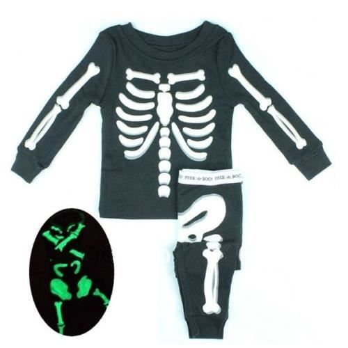 halloween pyjama b b squelette phosphorescent noir achat vente pyjama chemise de nuit. Black Bedroom Furniture Sets. Home Design Ideas