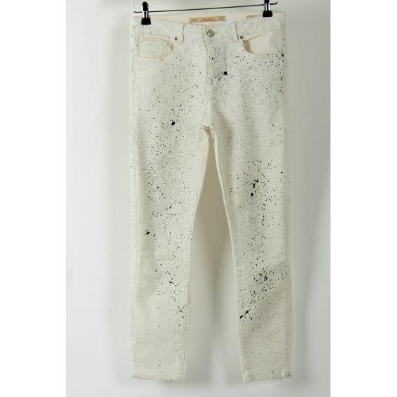 jean slim zara cr me motifs effet peinture blanc achat vente jeans cdiscount. Black Bedroom Furniture Sets. Home Design Ideas