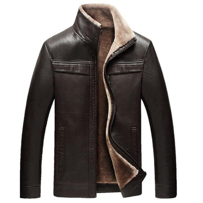 veste cuir homme noir automne hiver paissir pu cuir. Black Bedroom Furniture Sets. Home Design Ideas