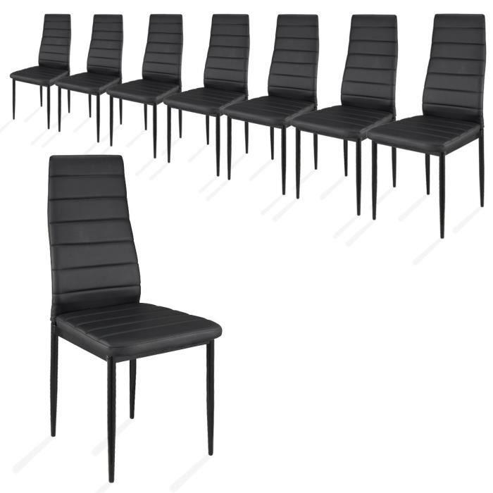 lot de 8 chaises de salle manger noir achat vente