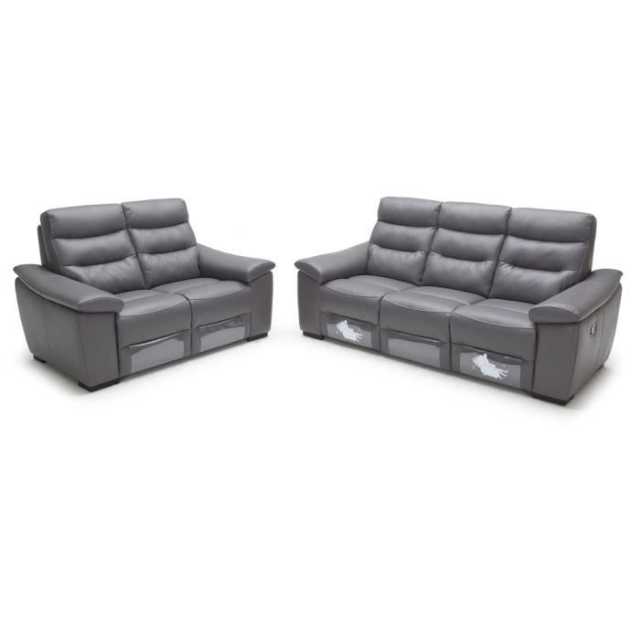 Canap relaxation 3 2 switluxe prestige cuir gris achat vente canap so - Canape relax cdiscount ...