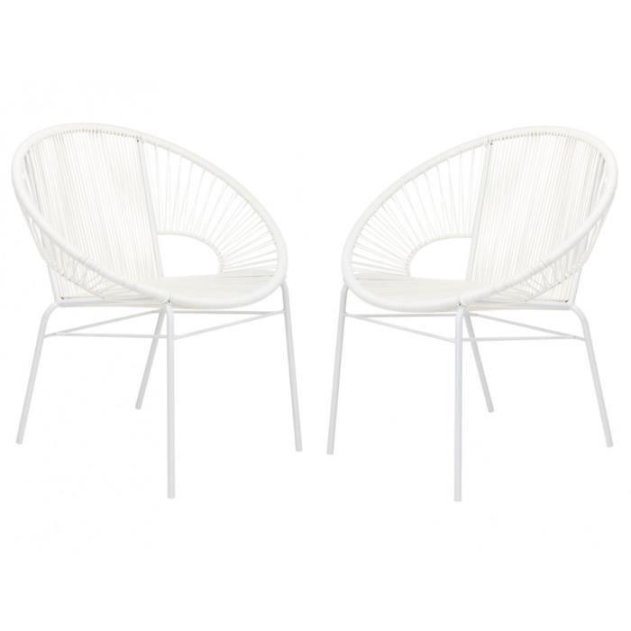 Lot de 2 fauteuils de jardin kelios en fils de r sine tress s blanc achat vente fauteuil - Fauteuil en fil de resine ...