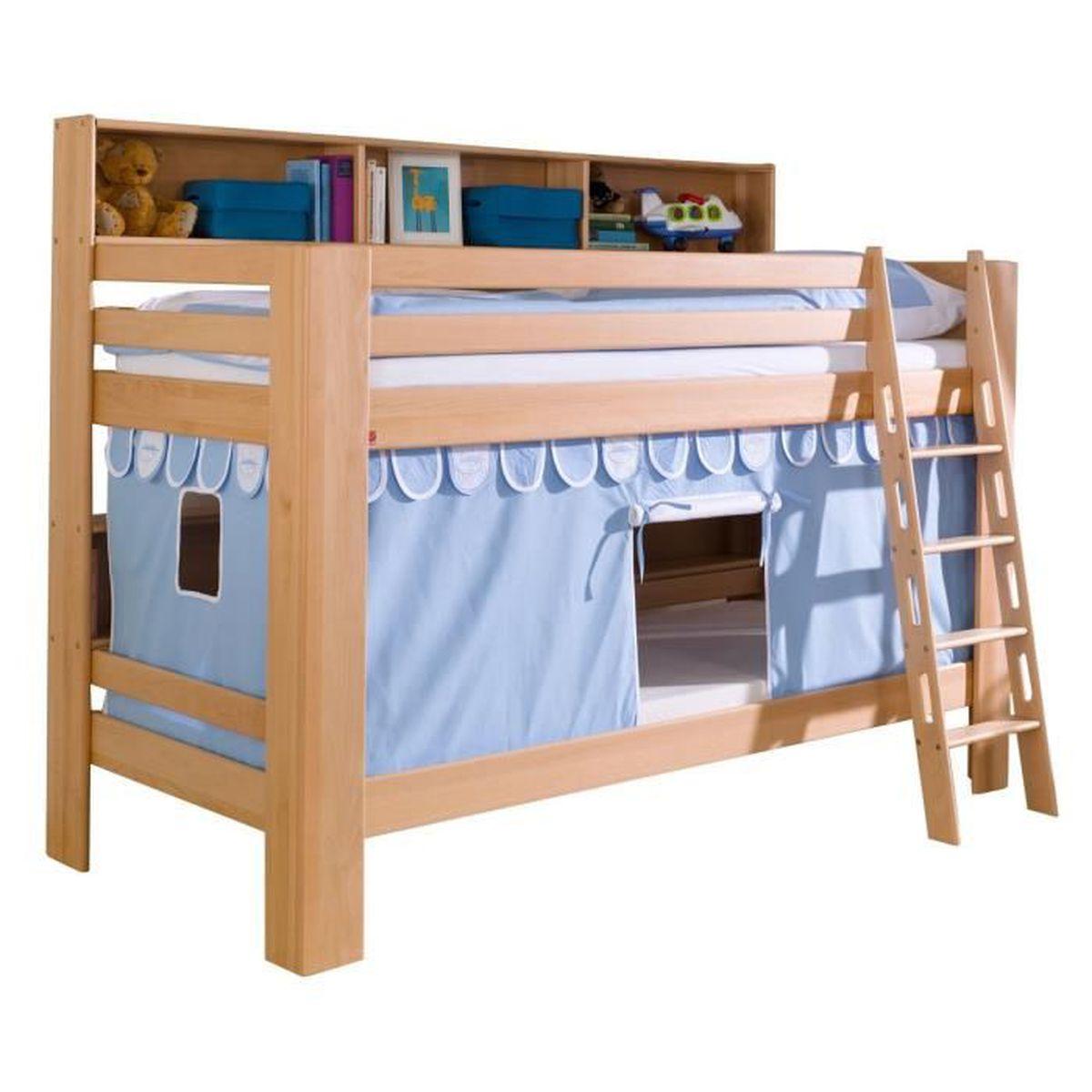 lit superpos 90x200 cm avec tag res en h tre massif et tente de jeu coloris bleu et blanc. Black Bedroom Furniture Sets. Home Design Ideas
