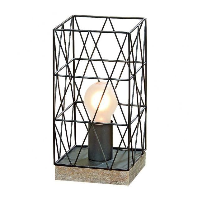 Lampe poser design en bois et m tal noir cage achat for Lampe de chevet en cristal
