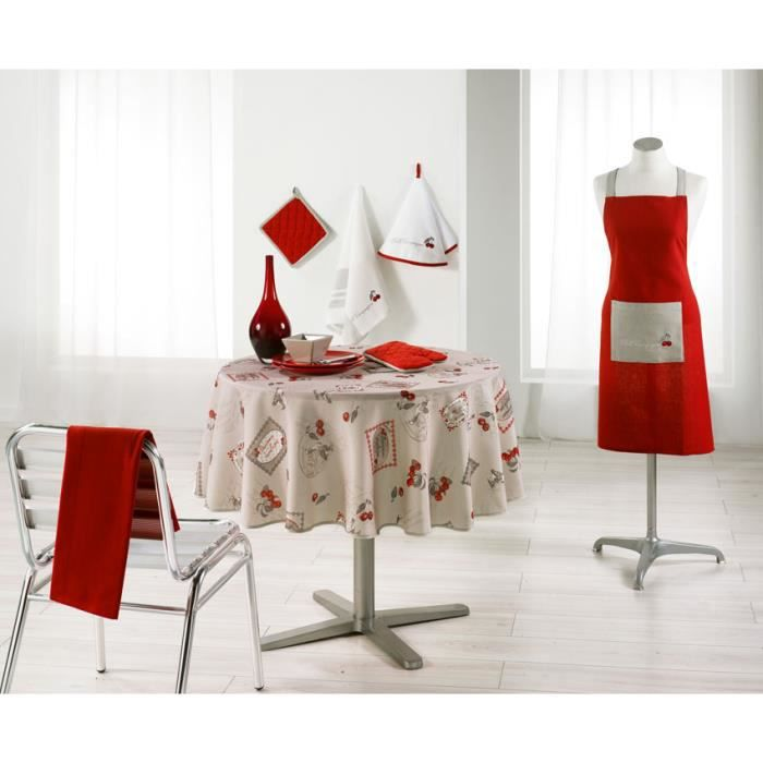 nappe ronde anti tache 180cm motif cerise oies lin 100 polyester achat vente nappe de. Black Bedroom Furniture Sets. Home Design Ideas