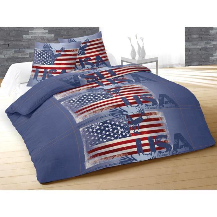 parure housse de couette 240x220 cm usa jeans bleu achat. Black Bedroom Furniture Sets. Home Design Ideas