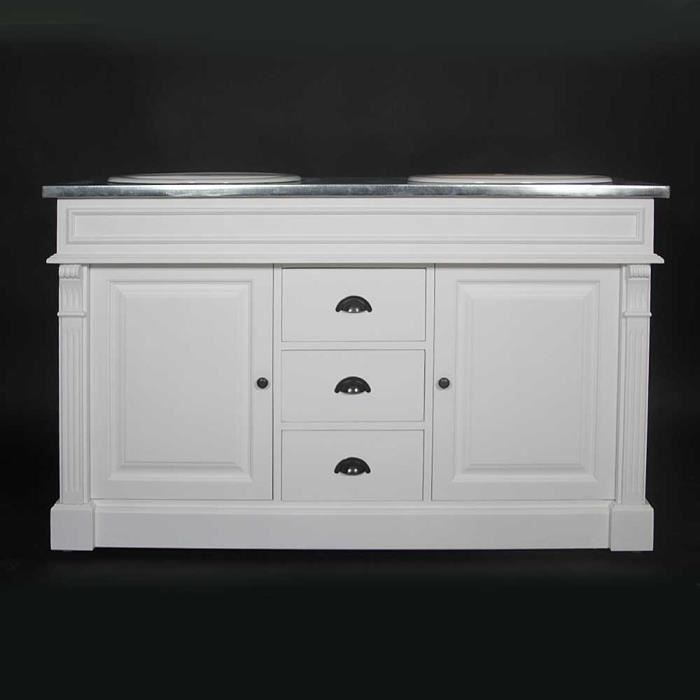 meuble 2 vasques en pin massif blanc blanc achat. Black Bedroom Furniture Sets. Home Design Ideas
