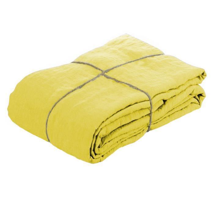Housse de couette 100 lin lav citronnelle 20 achat for Linge de maison lin