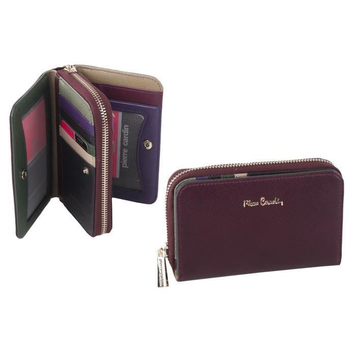 Portefeuille femme pierre cardin bordeaux en cuir avec ouverture zip et bouton a5085 achat for Achat porte interieur bordeaux
