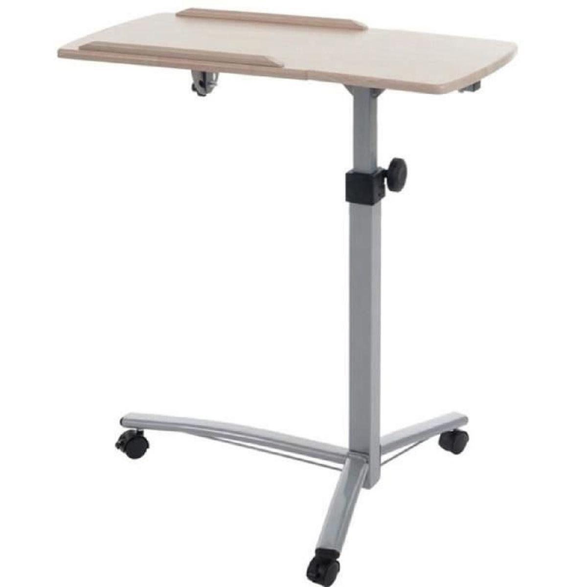 table d 39 ordinateur portable r glable en hauteur coloris naturel dim h 67 102 x l 55 x p 50. Black Bedroom Furniture Sets. Home Design Ideas
