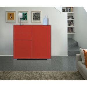 NOVA Bahut haut 114 cm - Laqué rouge brillant