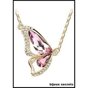SAUTOIR ET COLLIER collier papillon cristal rose plaqué or jaune