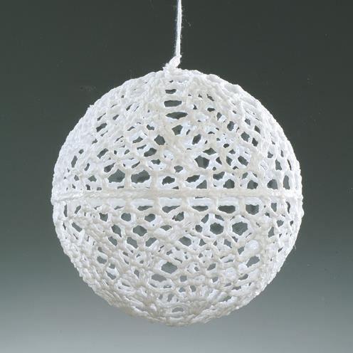 Boule de no l crochet e de 10 cm blanc achat vente boule de no l cdiscount for Boule laser noel