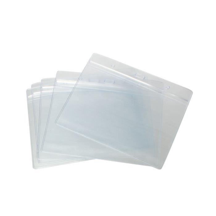 Pack de 10 a6 horizontal pochette porte badge d 39 identit d 39 identification claire support en - Pochette d angle en plastique ...