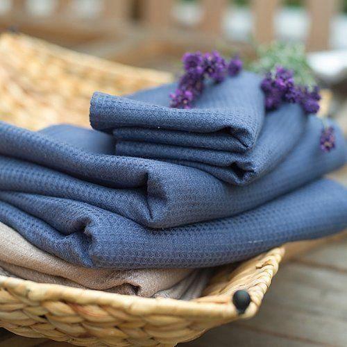 linenme lot de 2 serviettes essuie mains et 2 serviettes pour invit s en lin nid d 39 abeille bleu. Black Bedroom Furniture Sets. Home Design Ideas