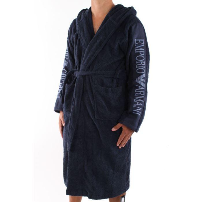 Peignoir bleu marine capuche b achat vente peignoir cdiscount for Peignoir homme capuche