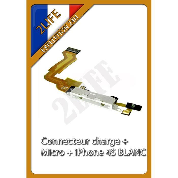 nappe dock connecteur de charge micro pour iphone 4s blanc achat pi 232 ce t 233 l 233 phone pas cher
