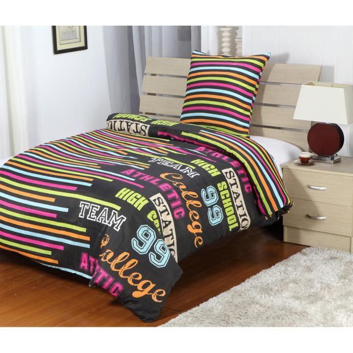 housse de couette college 1 place collection eden achat vente housse de couette soldes. Black Bedroom Furniture Sets. Home Design Ideas