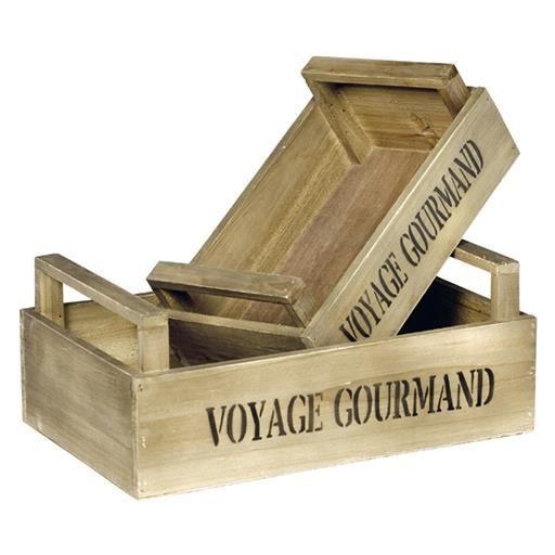 Cagette en bois vieilli avec marquage voyage gourmand - Deco avec cagette bois ...