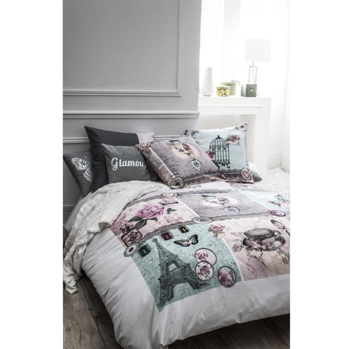 housse de couette 220x240cm 2 taies d 39 oreiller 63x63 cage. Black Bedroom Furniture Sets. Home Design Ideas